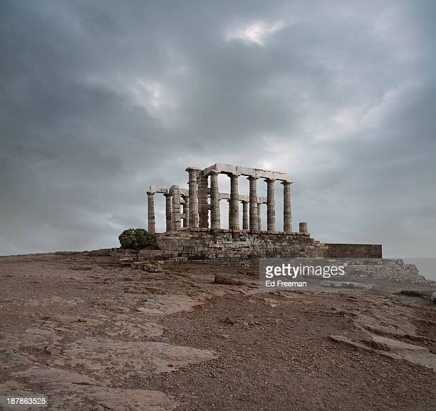 temple of poseidon at sounion, greece - old ruin stock pictures, royalty-free photos & images