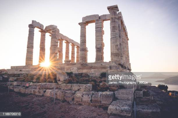temple of poseidon at sunrise - greece stock pictures, royalty-free photos & images