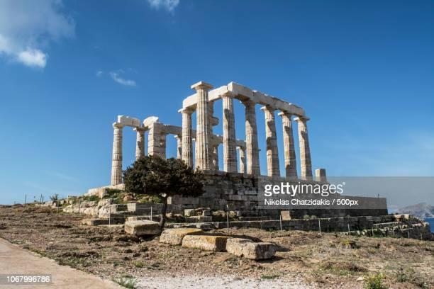 temple of poseidon - temple grec photos et images de collection