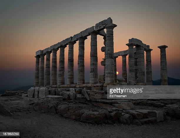 temple of poseidon, sounion, greece - ancient greece photos stock pictures, royalty-free photos & images
