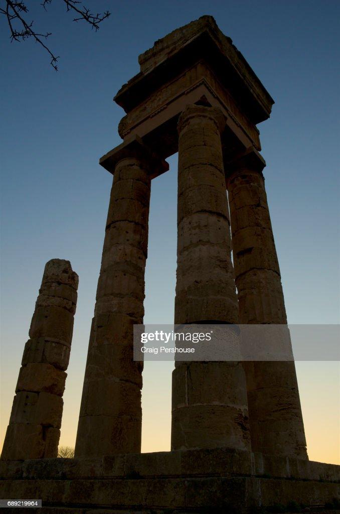 Temple of Pythian Apollo on the Acropolis of Rhodes. : Stock Photo