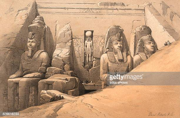 Temple of Ramesess II at AbooSimbel front view Ca 1845 Lithography by David Roberts