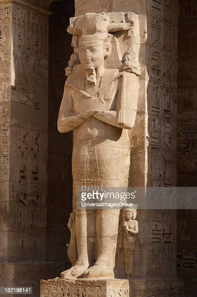 Temple of Ramses III, Great colossal statues of Ramses III deified as Osiris, attached to pillars, New Kingdom, , Twentieth dynasty, Thebes,...