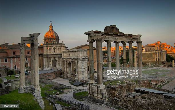 Temple Of Saturn And Imperial Forum At Sunset