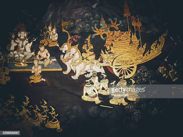 temple of the emerald buddha mural, grand palace - hindu god stock pictures, royalty-free photos & images