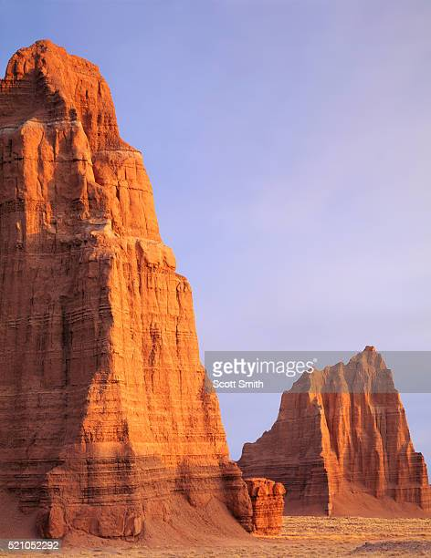 temple of the moon and temple of the sun - capitol reef national park stock pictures, royalty-free photos & images