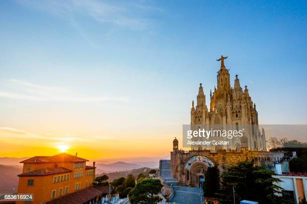 Temple of the Sacred Heart of Jesus at Tibidabo mountain at sunset, Barcelona, Catalonia, Spain