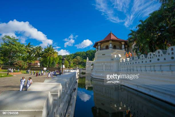 temple of the sacred tooth relic at kandy in the morning - lanka stock pictures, royalty-free photos & images