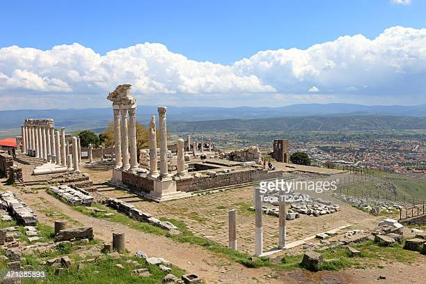 temple of trajan at pergamos - bergama stock pictures, royalty-free photos & images