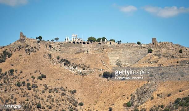 temple of trajan in ancient city pergamon, bergama, turkey view from asklepion temple. - ベルガマ ストックフォトと画像