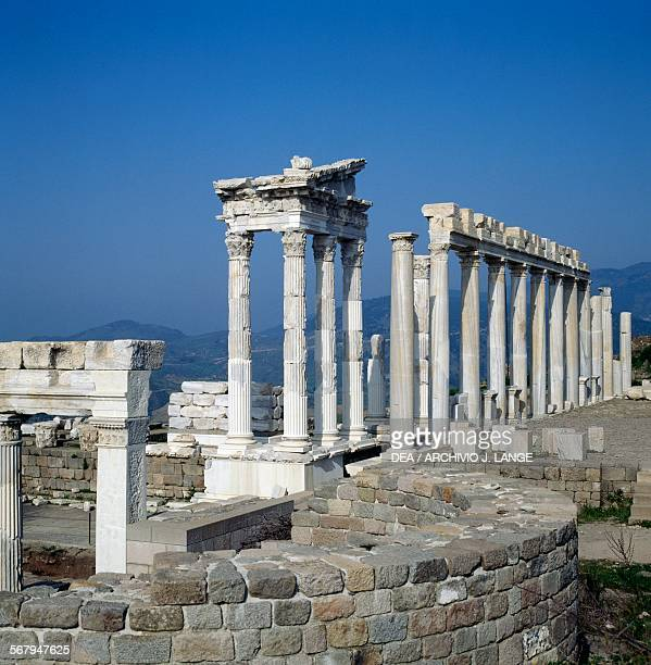 Temple of Trajan, or Trajaneum, 120-125 AD, Pergamon , Turkey. Roman civilisation, 2nd century AD.