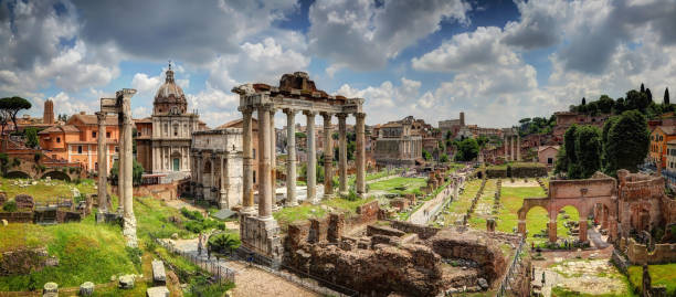 Temple of Vespasian and Titus in the Foro Romano, from the viewpoint 'Monte Tarpeo'