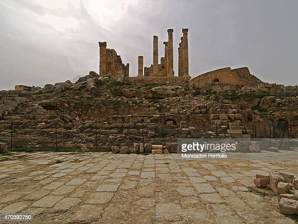'Temple of Zeus 162163 2nd Century DC stone building Jordan Jerash Whole artwork view View of the temple with it majestic corinthian columns standing...