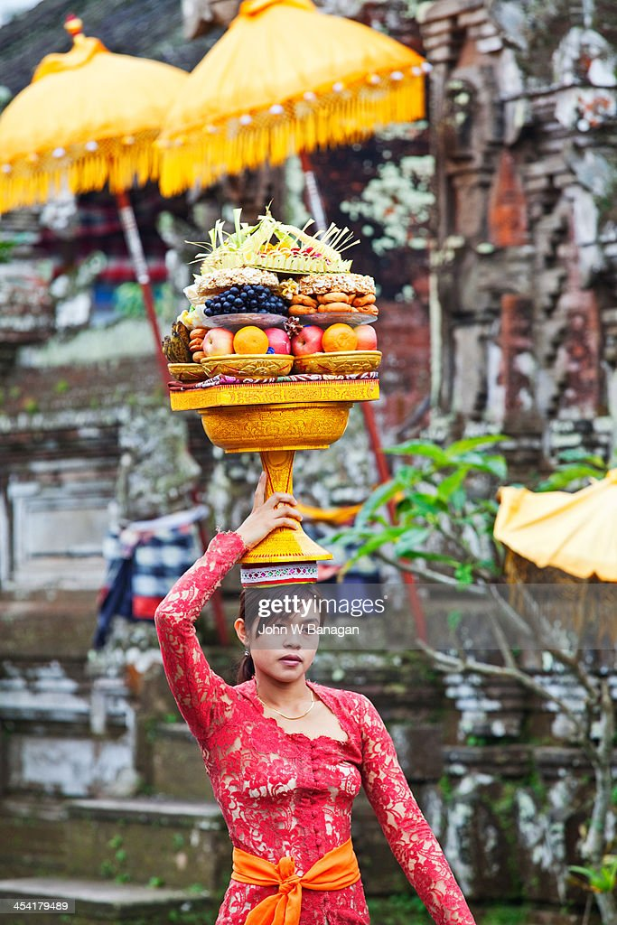 Temple offerings, Ubud, Bali : Stock Photo