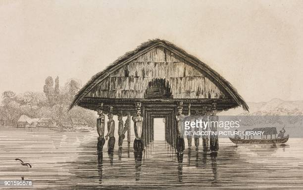 Temple on a lake at Dory Papua New Guinea engraving by Domeny de Rienzi and Monnin from Oceanie ou Cinquieme partie du Monde Revue Geographique et...