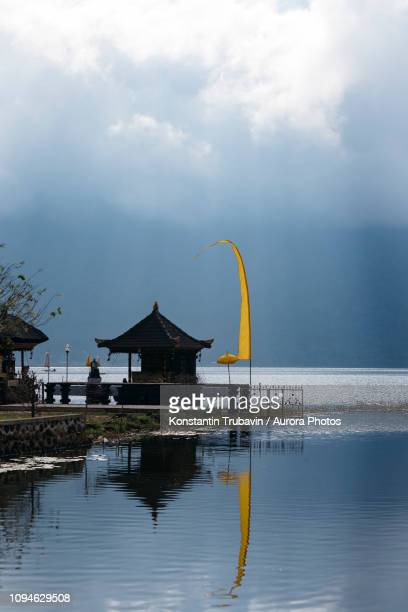 Temple on shore of Bratan Lake, Bali, Indonesia