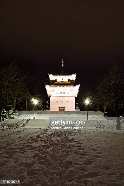 Temple on the hillside in Sapporo in the snow during winter