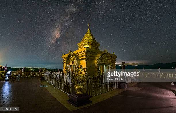 Temple on the milky way background in Thailand