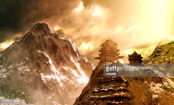 temple on top of the mountain - satoyama scenery stock pictures, royalty-free photos & images