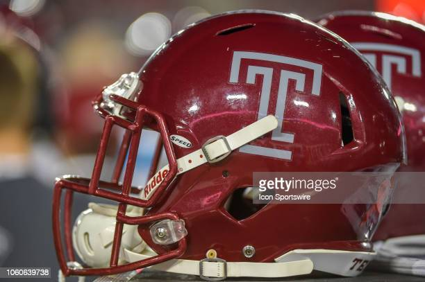 Temple Owl helmet awaits the next series during the football game between the Temple Owls and Houston Cougars on November 10 2018 at TDECU Stadium in...