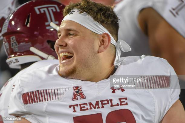 Temple Owls linebacker Sam Kramer watches from the sideline during the football game between the Temple Owls and Houston Cougars on November 10 2018...