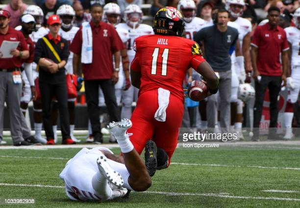 Temple Owls linebacker Shaun Bradley sacks Maryland Terrapins quarterback Kasim Hill on September 15 at Capital One Field at Maryland Stadium in...