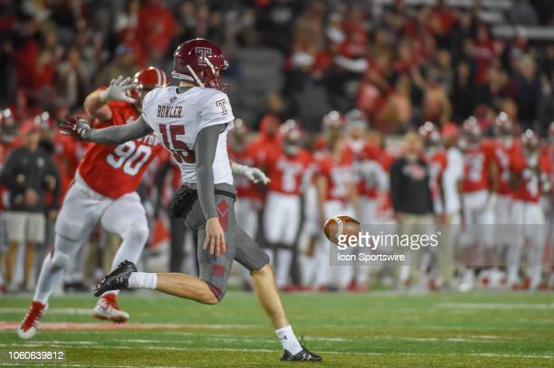 Temple Owls punter Drew Levin gets his second half punt away during the football game between the Temple Owls and Houston Cougars on November 10 2018...
