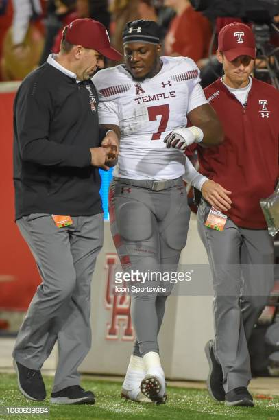 Temple Owls running back Ryquell Armstead leaves the field with an apparent wrist injury during the football game between the Temple Owls and Houston...