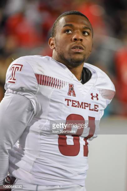 Temple Owls wide receiver Randle Jones watches from the sideline during the football game between the Temple Owls and Houston Cougars on November 10...