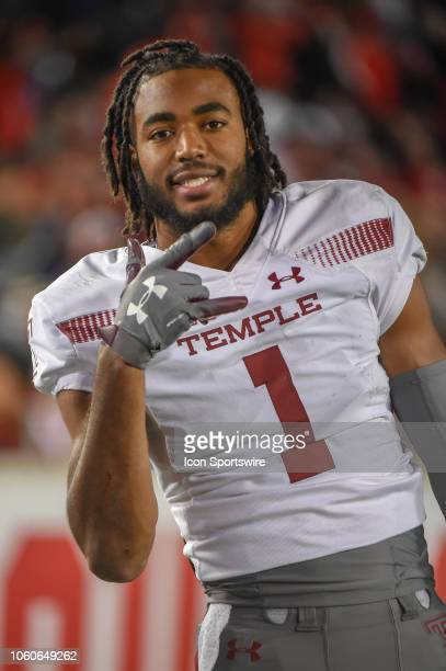 Temple Owls wide receiver Ventell Bryant has some fun on the sideline during the football game between the Temple Owls and Houston Cougars on...