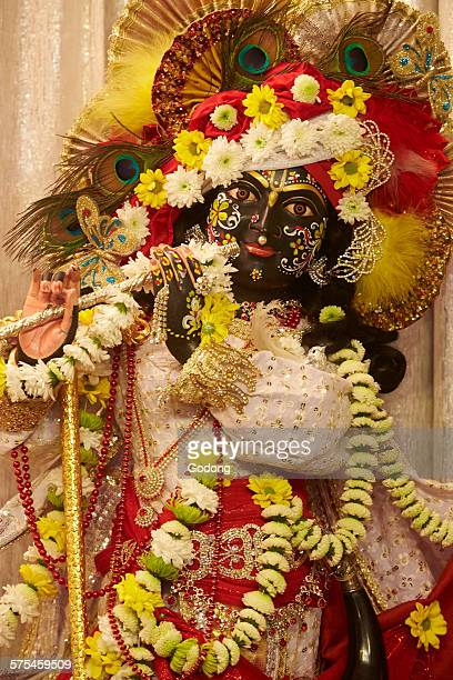 iskcon temple - lord krishna stock photos and pictures