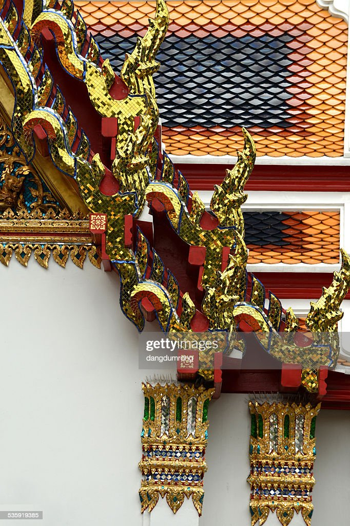 Temple Roof Tile Pattern in Thailand : Stock Photo