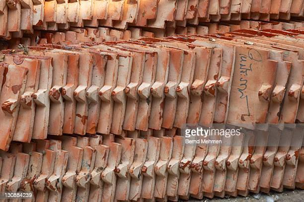Temple roof tiles, Bangkok, Thailand, Asia