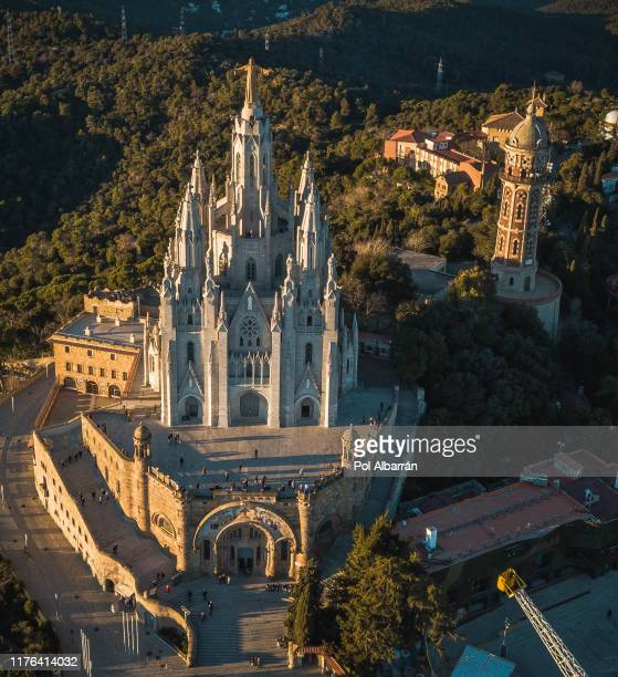 temple sacred heart of jesus on tibidabo in barcelona, spain - tibidabo stock pictures, royalty-free photos & images