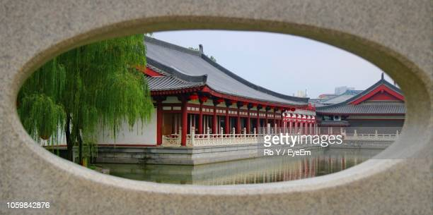 Temple Seen Through Hole In City