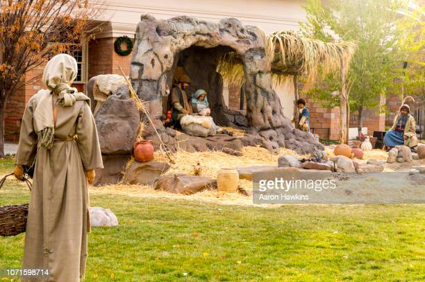temple square nativity - manger stock photos and pictures