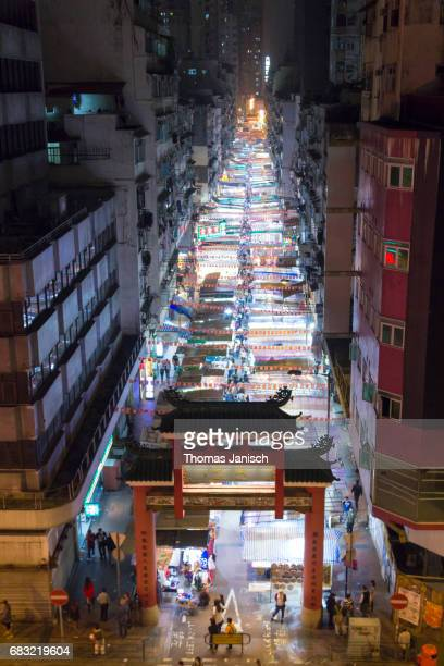 Temple Street Night Market from above