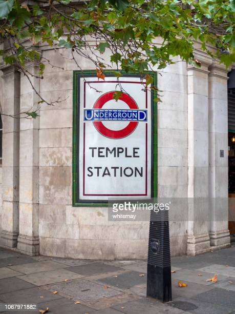 temple underground station, london - underground sign stock pictures, royalty-free photos & images