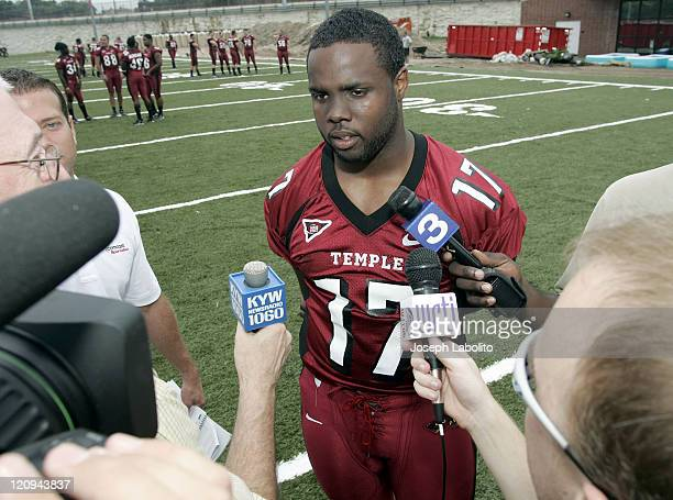 Temple University football player Rian Goo Wallace meets the press at Temple Football Media Day on the campus of Temple University on August 24 2004