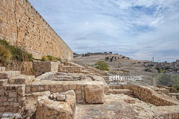temple wall, jerusalem - mount of olives stock photos and pictures