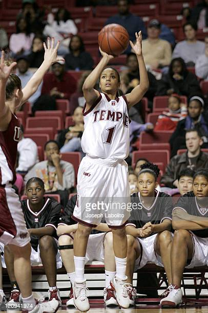 Temple's Cynthia Jordan had 12 Points during a Temple Owls 59 to 43 victory over the University of Massachusetts Minutewomen at the Liacouras Ctr in...