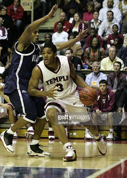 Temple's Dustin Salisberry as the ranked Villanova Wildcats defeated the Temple Owls 75 to 53 at the Palestra in Philadelphia, Pennsylvania on...