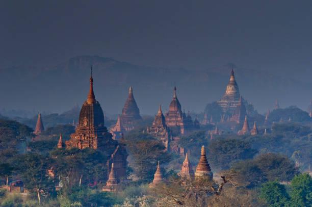 Temples in dawn light, Bagan, Myanmar