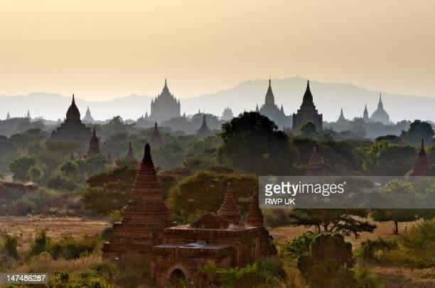Temples in distant haze at sunset, Bagan, Myanmar
