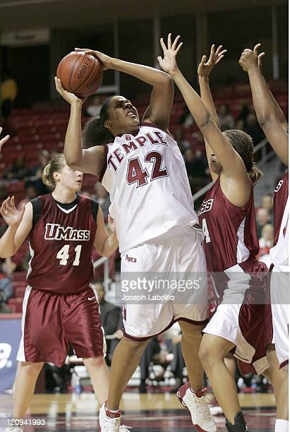 Temple's Lady Comfort in action during a Temple Owls 59 to 43 victory over the University of Massachusetts Minutewomen at the Liacouras Ctr in...