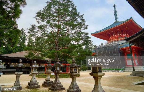 temples of mt. koya in wakayama, japan travel, jr route. japan culture travel - danjo garan stock-fotos und bilder