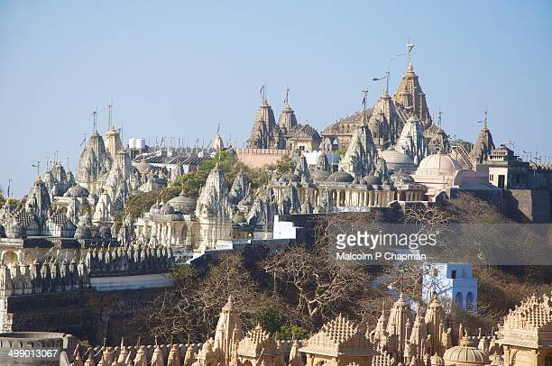 temples of shatrunjaya - palitana stock photos and pictures