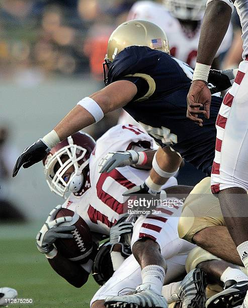 Temple's wide receiver Delano Green is dragged down on the kickoff return at the 39yard line in the second quarter against Navy at the NavyMarine...