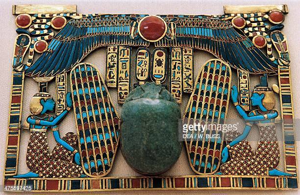 Templeshaped breastplate from the Tomb of Tutankhamun Egyptian civilisation Dynasty XVIII Cairo Egyptian Museum
