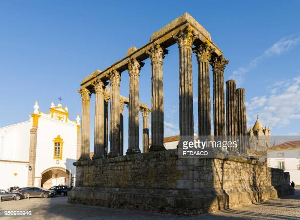 Templo Romano and Cathedral Evora in the Alentejo The old town is part of the UNESCO World Heritage Europe Southern Europe Portugal March